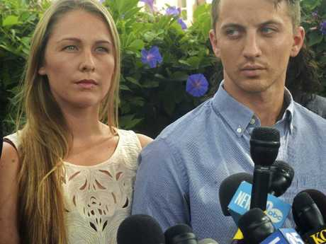 Police at first thought Ms Huskins' boyfriend Aaron Quinn was responsible for her disappearance. Picture: Mike Jory/Vallejo Times-Herald via AP