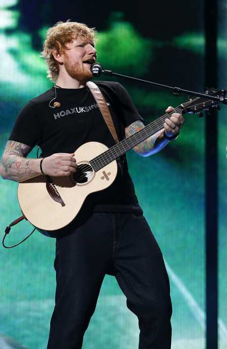 Ed Sheeran performed with nothing but his guitar and loop box combo.