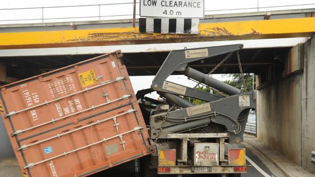 Truck hit Bridge in Napier St Footscray.