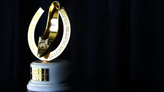 SYDNEY, AUSTRALIA — FEBRUARY 28: The Golden Slipper trophy is seen during the Australian Turf Club 2017 Sydney Carnival Launch at Royal Randwick Racecourse on February 28, 2017 in Sydney, Australia. (Photo by Mark Metcalfe/Getty Images for The ATC)