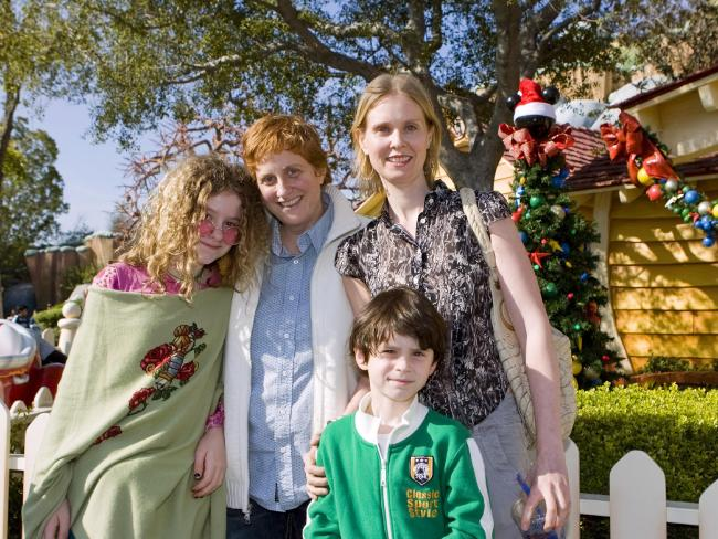 Cynthia Nixon, with wife Christine Marinoni and two of the couple's three kids. Picture: AP/Disneyland, Paul Hiffmeyer