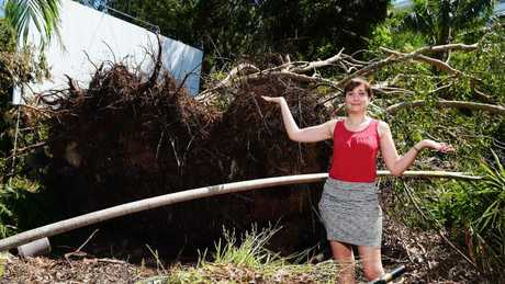 Technical Officer Blandine Ruffo at Deckchair Cinema is facing weeks of clean up after Cyclone Marcus in Darwin. Picture: Keri Megelus