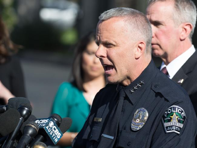 Austin Police Chief Brian Manley said officers were hunting a 'highly skilled' serial bomber, after the latest device used a tripwire. Picture: AFP Photo / Suzanne Cordeiro