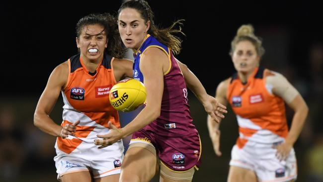 Sharni Webb of the Lions plays against Greater Western Sydney this month. Picture: AAP/David Moir
