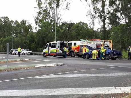 Emergency crews at Bells Bridge where a car has crashed.
