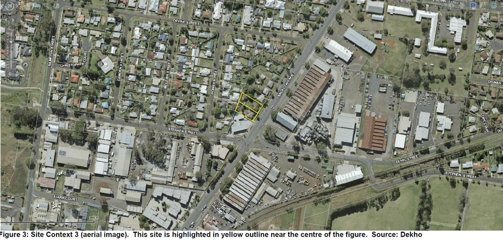 Overhead shots of the land for a new drive-thru food precinct on Anzac Ave in Harristown.