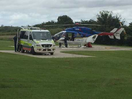 Lifeflight waits at Archery Park in Gympie to airlift a woman in her 80s who was seriously hurt in a crash with a truck on Wednesday morning