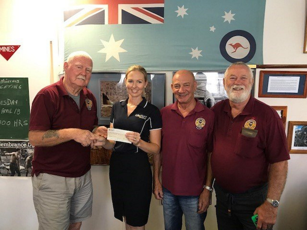 At the presentation are (from left) TPI President Roland Thompson, LifeFlight Foundation Community Engagement - South West Amy Luhrs, TPI treasurer Jim Poteri and TPI member and past president Mick Lourigan.