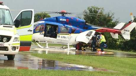 A 89-year-old woman is airlifted from Gympie after being placed in an induced coma.