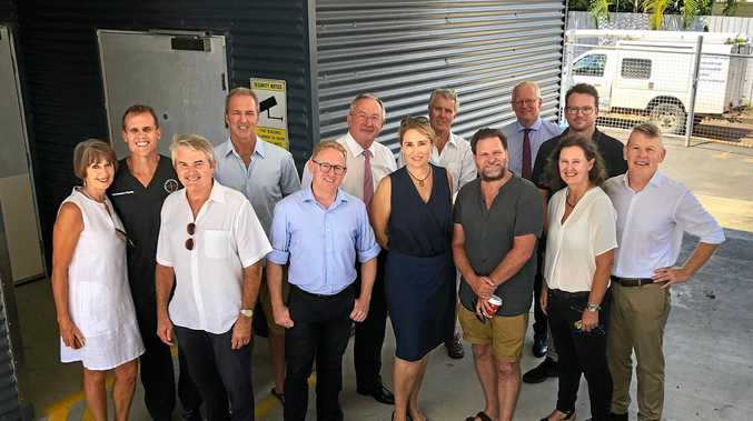 PLANNING: Meeting of stakeholders with NSW Health Minister Brad Hazzard at the site of the old Byron Bay Hospital. From left- Liz Page, Dr Blake Eddington, Don Page, Stephen Eakin, Ben Franklin, Brad Hazzard, Helen Buckley, Donald Maughan, Simon Richardson, Wayne Jones, Nicole Reeve, Harley Graham, and Chris Hanley.