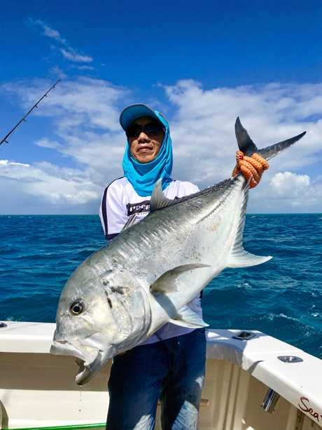 Sydney sider Billy Zhang with a solid GT caught at the reef last week with Sea Fever Sportfishing.