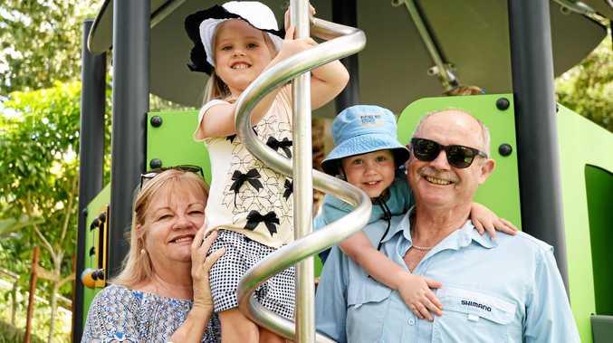 HANGING OUT: Karen Reynolds, Harper Reynolds, Hunter Mulry and Gary Reynolds at the Riverside playground.