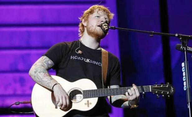 Ed Sheeran at Suncorp Stadium Tuesday night, during the second-last show of his Australian tour.