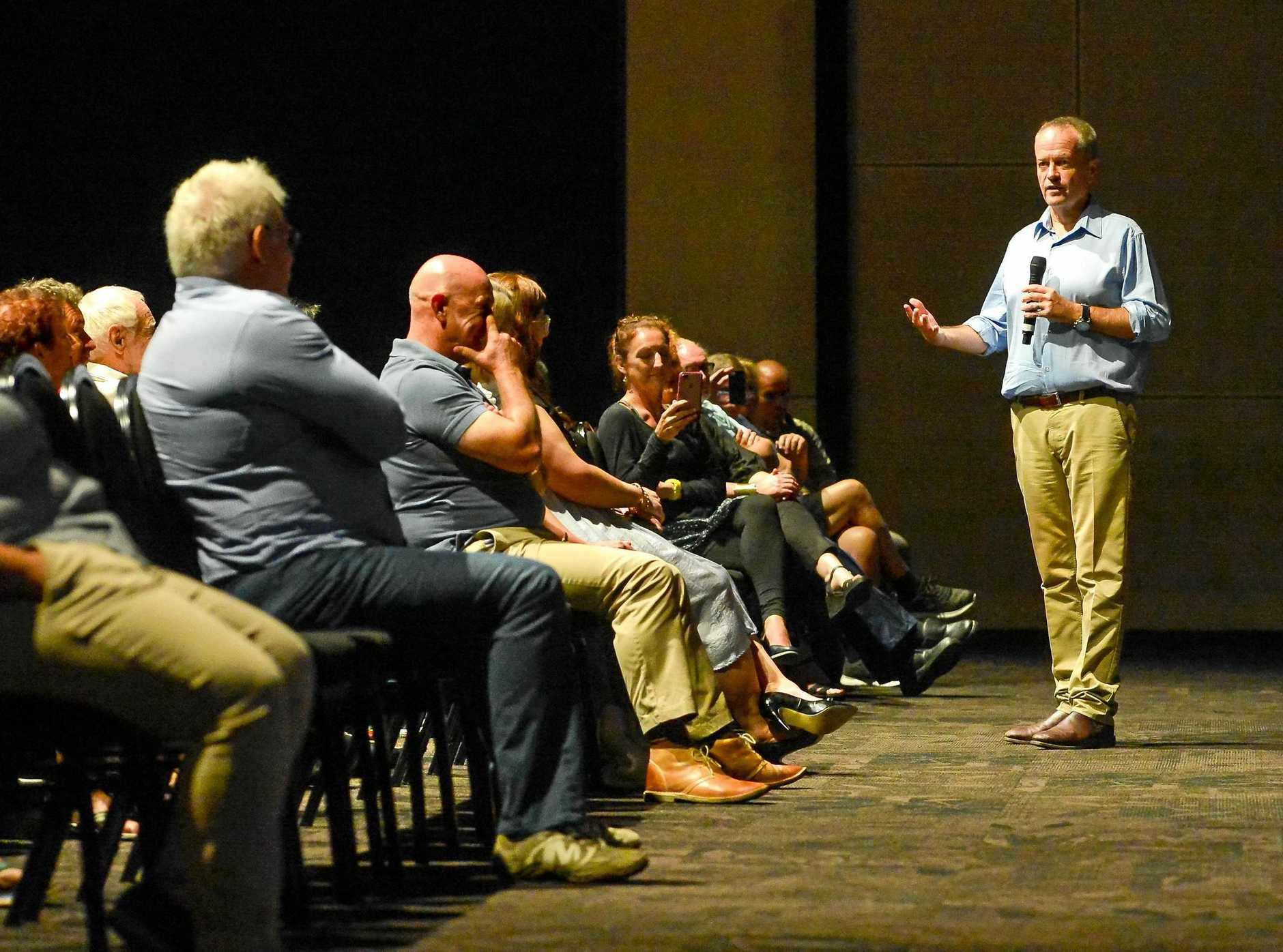 Q&A: Opposition Leader Bill Shorten takes questions at the Gladstone Entertainment Convention Centre.