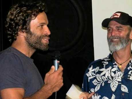 TWO JACKS: Singer and surfer Jack Johnson (left) with legendary filmmaker Jack McCoy at a screening of A Deeper Shade of Blue.
