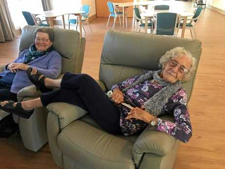 LOUNGING AROUND: KMAC residents Residents Inez Martin and Beryl Henricksen enjoying the last moments of peace and quiet before construction begins.