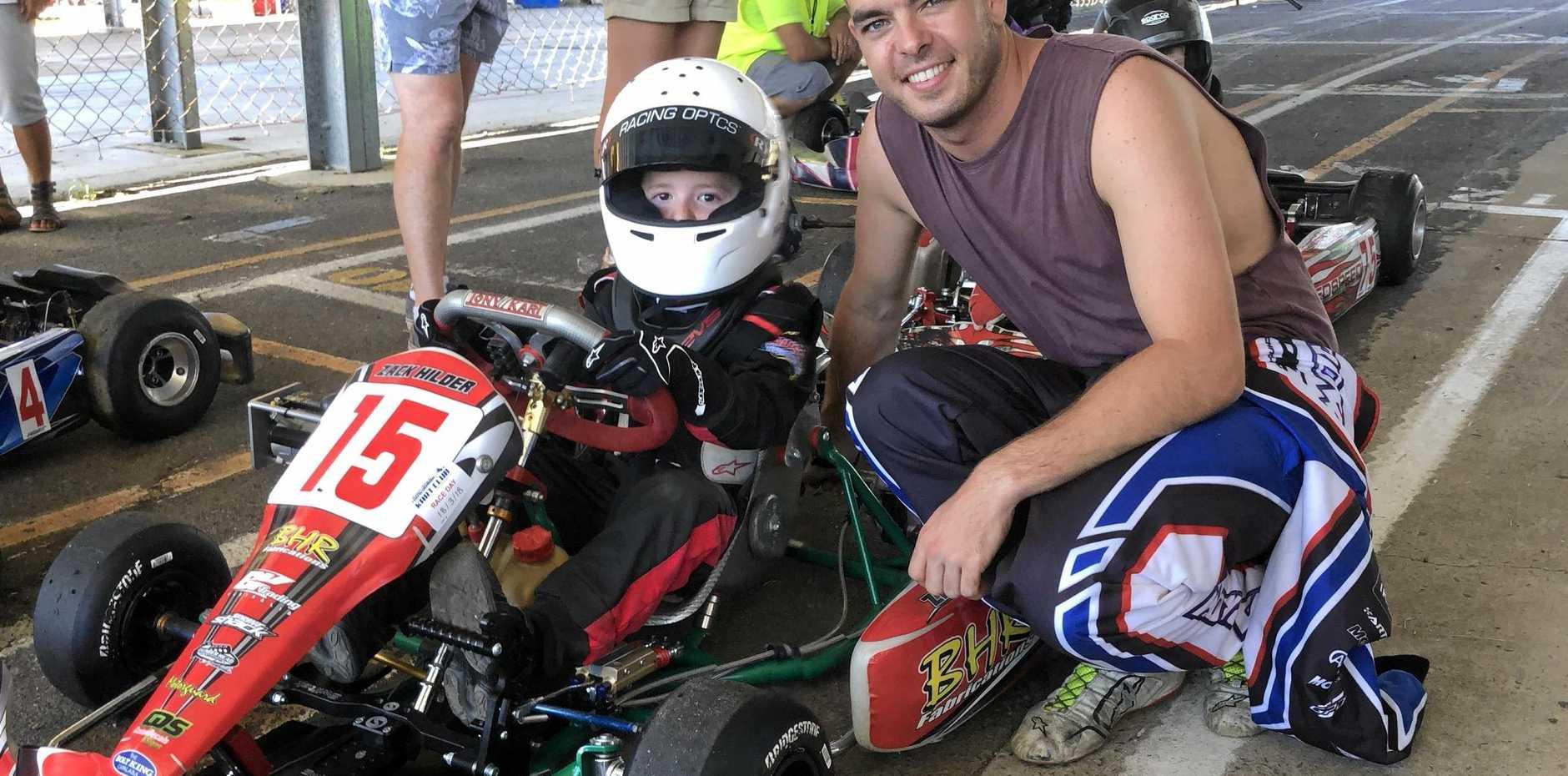 V8 Supercar driver Scott McLaughlin and Cadet 9 Comer Class driver Zack Hilder at Greer Park Raceway last weekend.