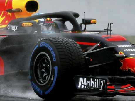 Daniel Ricciardo tests out the new RB14. (AP Photo/Manu Fernandez)