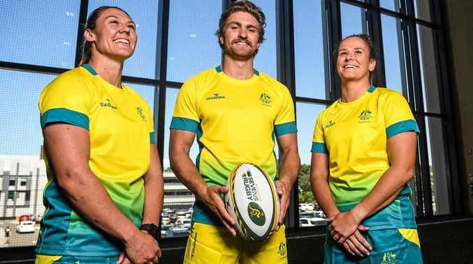 Australian rugby sevens team members Sharni Williams, Lewis Holland and Shannon Parry at the teams announcement for the Gold Coast Commonwealth Games, in Sydney on March 15.