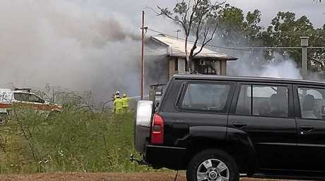 Adam Kirsty Bailey shared this photo to Facebook as a Gracemere home goes up in flames.