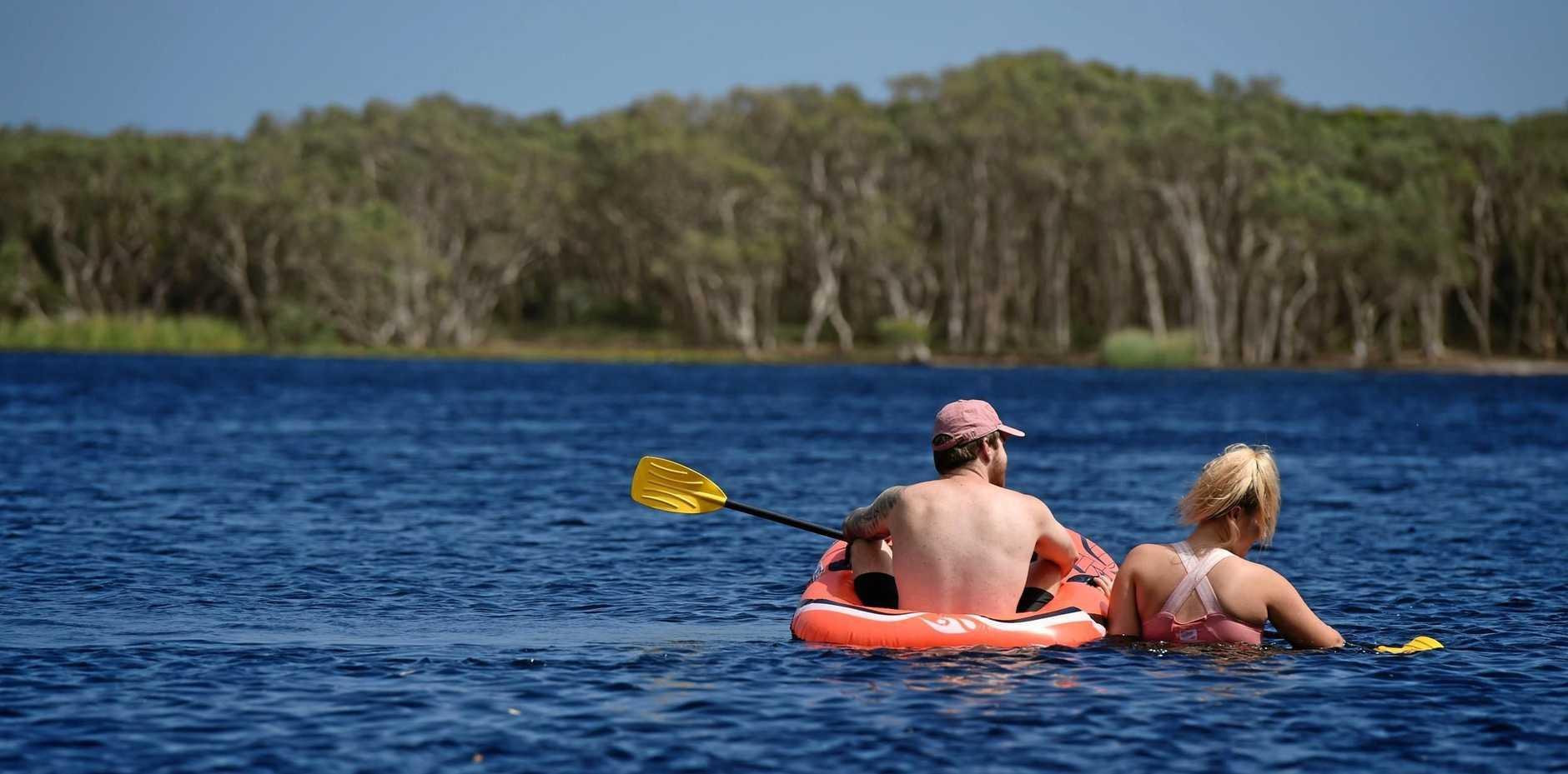 Chelsea Jones and Luke Mackay, of Lismore, at Lake Ainsworth in Lennox Head.