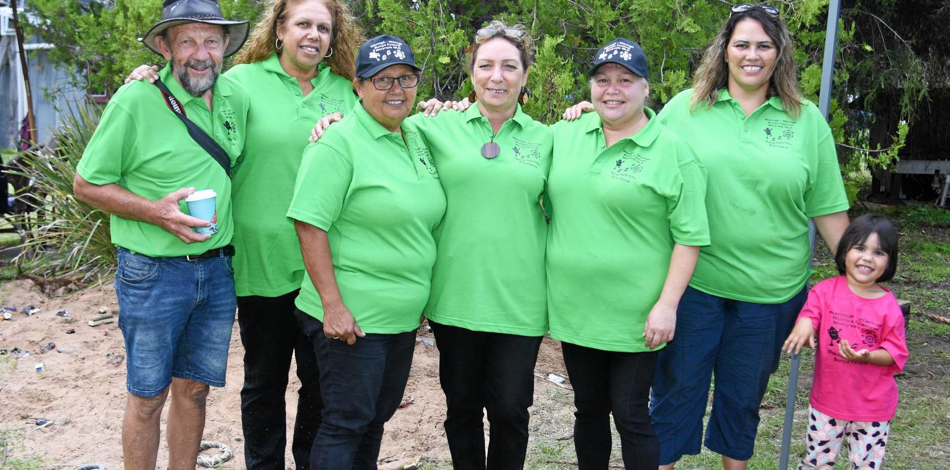 CREATING CHANGE: Waringh Waringh chairwoman Mandy Bahr (third from left) with committee members (from left) David Parsons, Delphine Charles, Diana Pratt, Joanne Wallace, and Melissa and Willow Chalmers at the Bunya Festival.