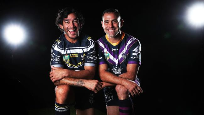 Great mates Johnathan Thurston and Cameron Smith could be facing off for the last time in Melbourne. Picture. Phil Hillyard