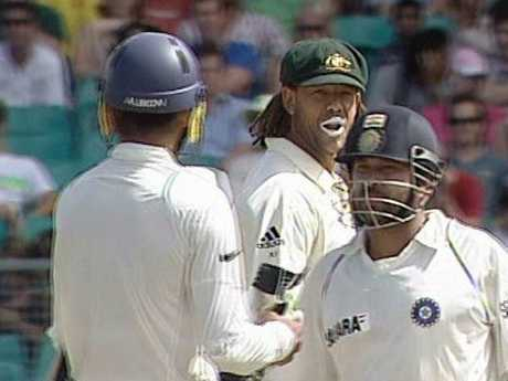 India's Harbhajan Singh (L) was accused of racially vilifying Australia's Andrew Symonds (C).