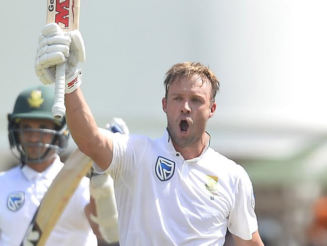 South Africa's AB de Villiers celebrates his century in the second Test in Port Elizabeth.