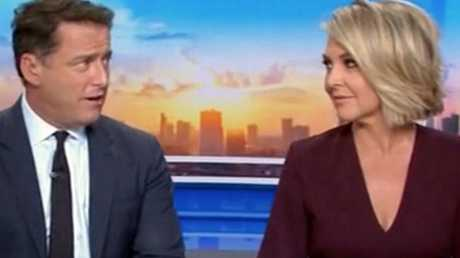 "Georgie Gardner calls Karl Stefanovic ""pathetic"" in an awkward on-air exchange this week. Picture: Today / Channel 9"