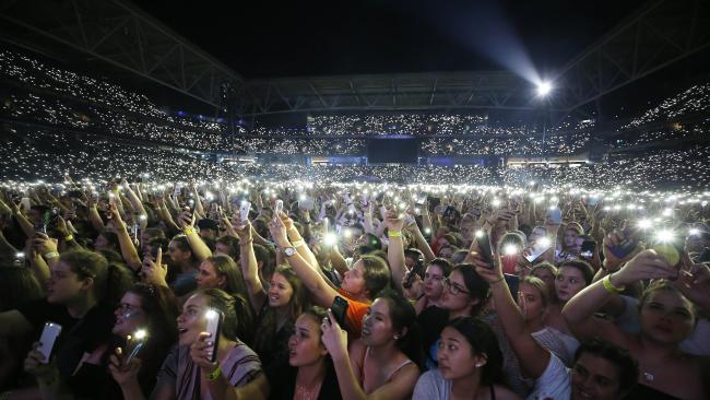 Ed Sheeran performing at Suncorp Stadium on Tuesday night. Picture: AAP Image/Josh Woning