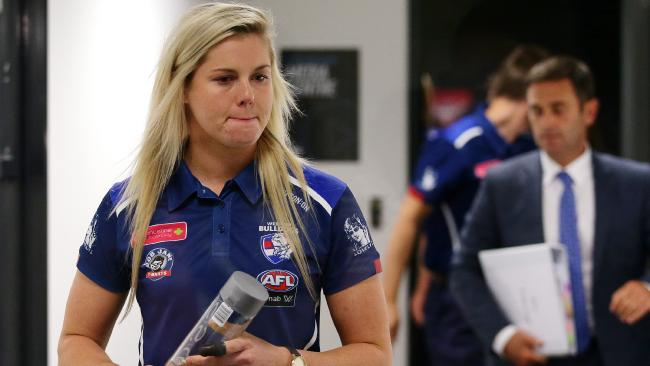 A shattered Katie Brennan was found guilty at the tribunal on Tuesday night. Picture: Andrew Tauber