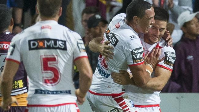 Ben Hunt is congratulated by Tyson Frizell.