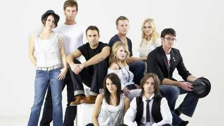 Natalie Hoflin (bottom left) with the old cast of Neighbours. From left: Natalie Saleeba, Daniel O'Connor, Benjamin Hart, David Hoflin, Eliza Taylor-Cotter, Natalie Blair (Hoflin), Pippa Black, Sweeney Young and Ben Lawson.
