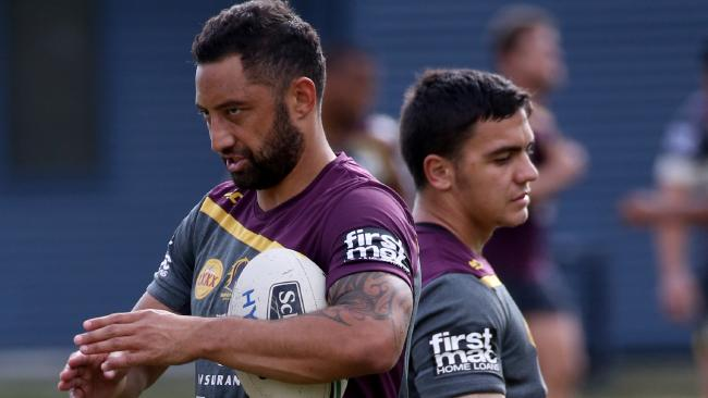 Benji Marshall and Kodi Nikorima during their time together at the Broncos.