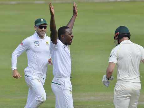 Kagiso Rabada celebrates taking an Australian wicket in the second Test.