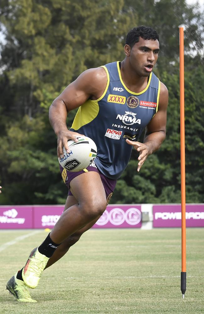 Tevita Pangai junior says he intends to remain a Brisbane Bronco for life. Picture: AAP Image/Dave Hunt