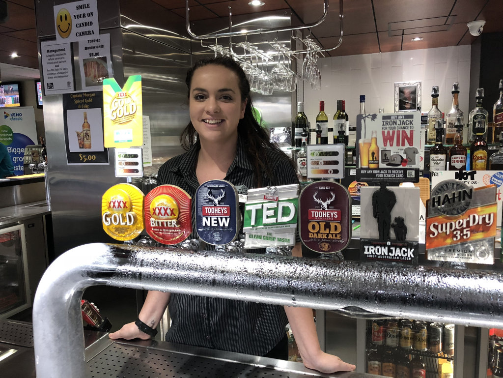 EXCITING TIMES: Kirra Simpson gets ready for Sunday at the Carriers Arms sports bar.