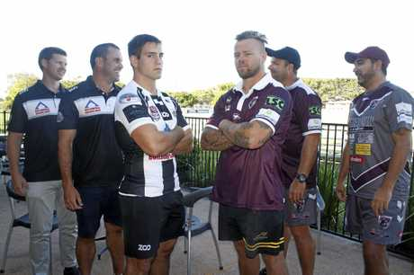 Tweed Heads Seagulls CEO Matt Jobson and Intrust Super Cup coach Ben Woolf and captain Cheyne Whitelaw square up to Burleigh Bears captain Luke Page, coach Jimmy Lenihan and staffer Roy Leoni ahead of their Rivalry Round clash at Piggabeen on Saturday.