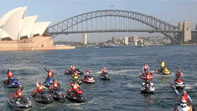 FAREWELL COATHANGER: The 20th Yamaha Jet Trek leaves Sydney Harbour and heads to the Coffs Coast.