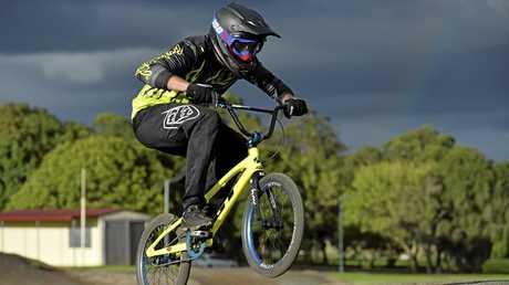 Luke Driver preparing in Toowoomba for this week's BMX Australia National Championships in Western Australia.