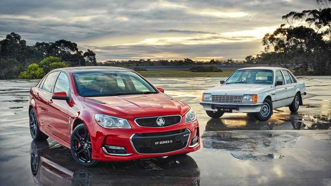 First and Last: The 2015 Holden VFII Commodore with an original 1978 VB Commodore. Photo: Contributed
