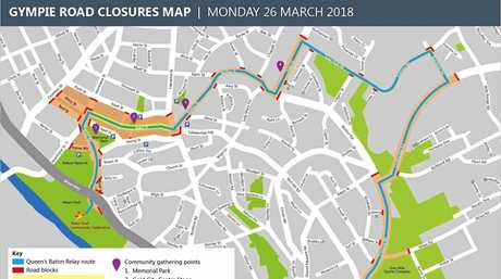 Map and road closures for Gympie Queens Baton Relay