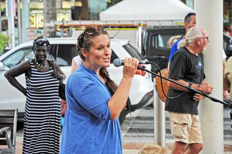 Coffs Coast Climate Action Group's Marnie Cotton addresses the crowd.