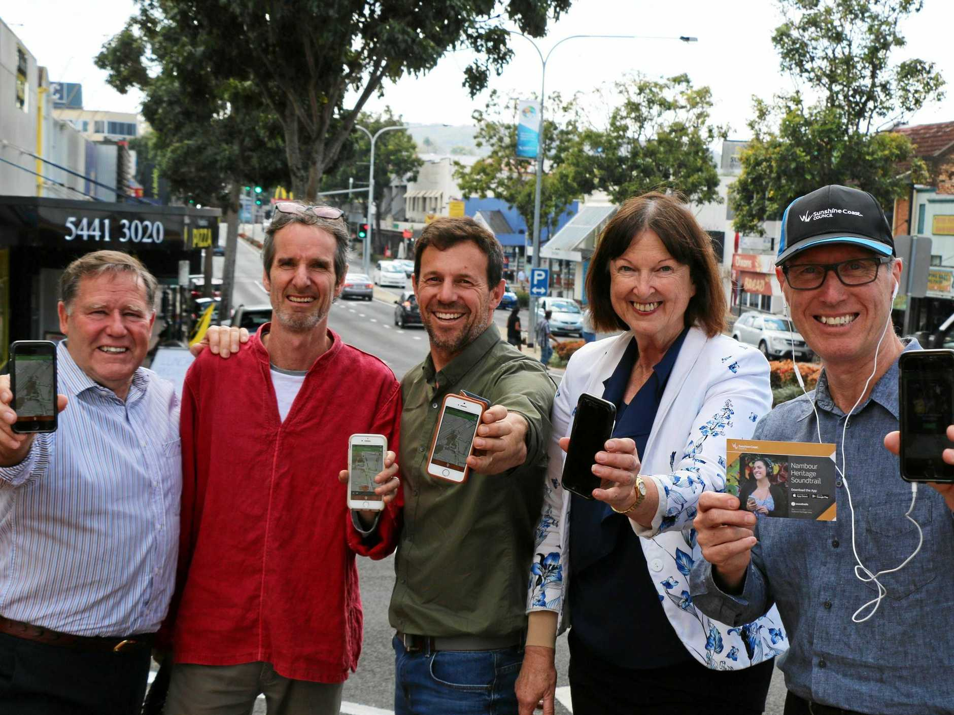 NAMBOUR SOUNDTRAIL: Cr Greg Rogerson, producer Hamish Sewell, narrator Jon Coghill, Cr Jenny McKay and Cr Rick Baberowski test out the Nambour Heritage Soundtrail in Currie St.