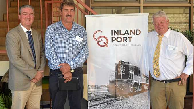 FUNDING ANOUNCMENT: Central Highlands Regional Council Mayor Kerry Hayes, Inland Port Managing Director Alan Stent-Smith and Federal Member for Flynn Ken O'Dowd at the Economic Futures Forum on Monday.