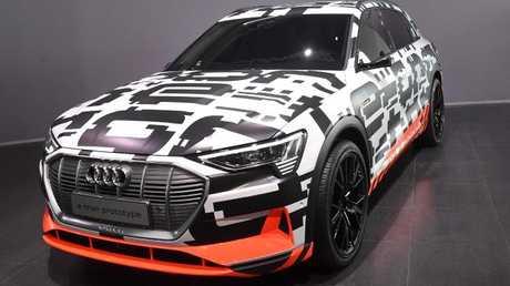 The Audi e-tron prototype car at Geneva. Picture: AFP.