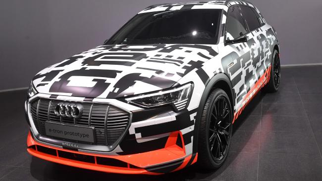 The Audi e-tron prototype car at Geneva. Picture: AFP.