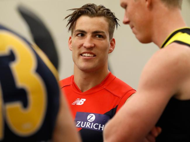 Jack Viney can't get on the park. (Photo by Michael Willson/AFL Media/Getty Images)