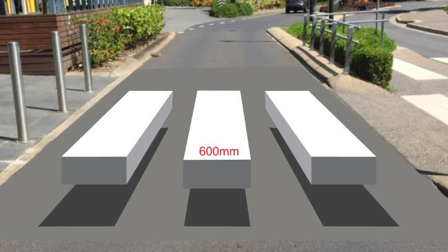 An artist impression of the proposed 3D zebra crossing to be painted at Pier Point Rd in Cairns.